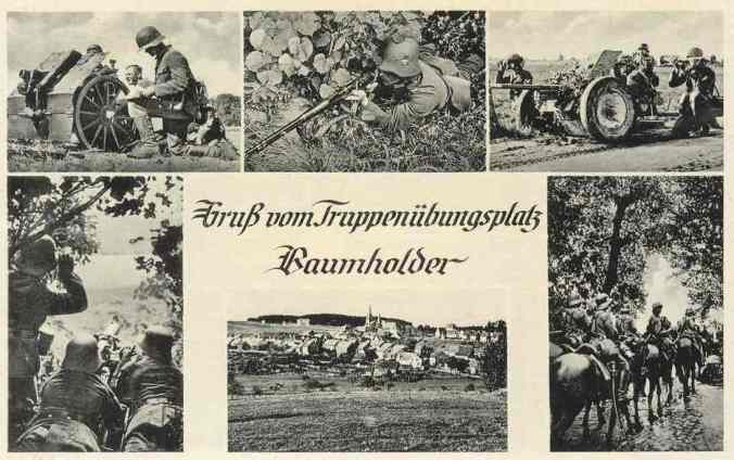 """A 1939 post card. """"Greetings from the Baumholder Troop Training Area."""""""